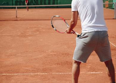 Tennis player in the basic position