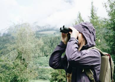 Woman is watching with binoculars